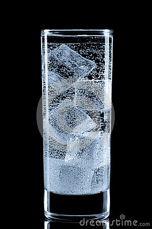 Free Glass With Soda Water And Ice Cubes. Stock Photos - 56790483