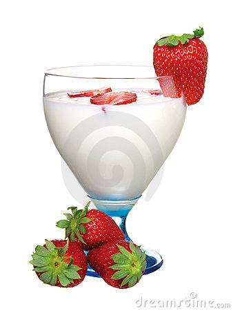 Glass of yoghurt, with fresh strawberries