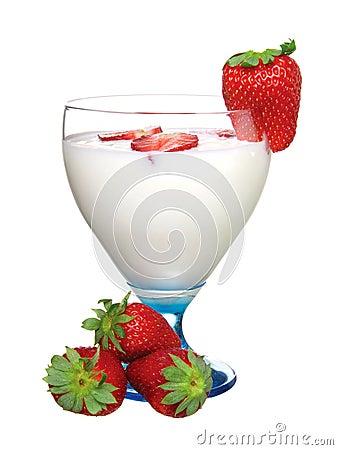 Glass of yoghurt, with fresh strawberries