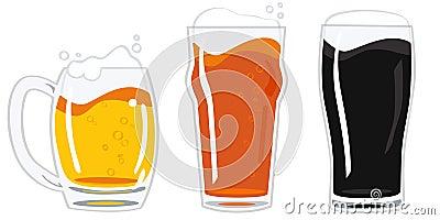 Glasses of beer vector