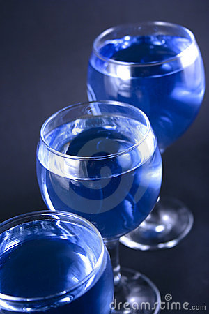 Glasses with a blue drink