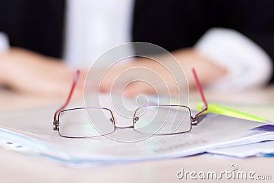 Glasses on blurred background