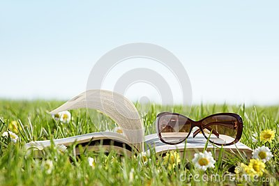 Glasses on a book outside