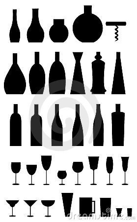 Glasses, bottles, opener