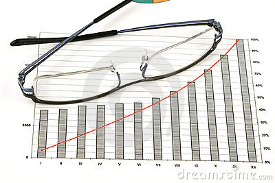 Glasses on business graph