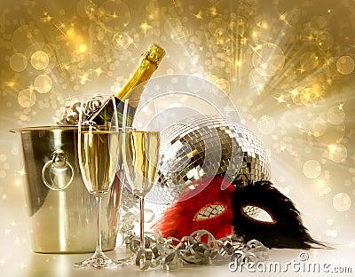 Glasses of champagne against festive background