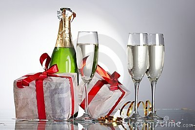 Glasses of champagne , gifts