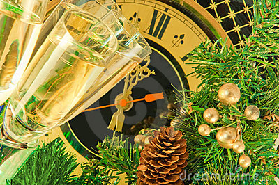 Glasses of champagne on New Year s