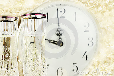 Glasses and Clock at Midnight