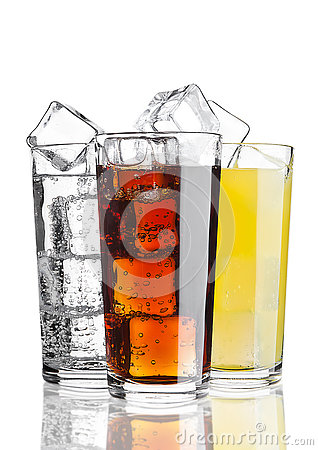 Glasses of cola orange soda lemonade with ice Stock Photo