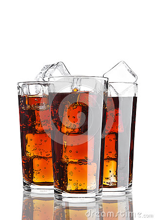 Glasses of cola soda drink cold with ice cubes Stock Photo
