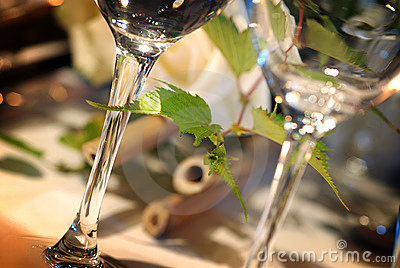 Glasses on event table