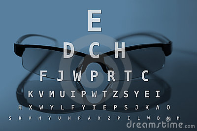 Glasses and eye test chart
