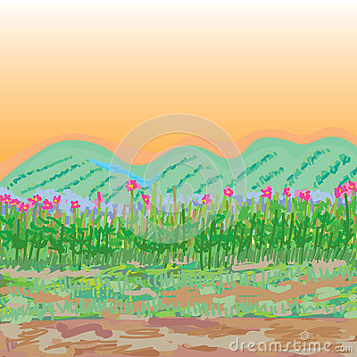Free Glasses Flowers Sketch Style Landscape Royalty Free Stock Photography - 61472017