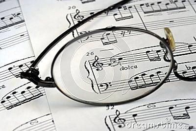 The glasses focus on the music symbols