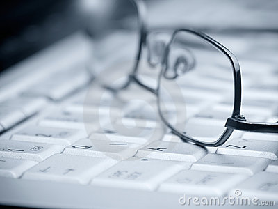 Glasses on the keyboard