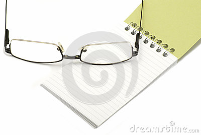 Glasses with notebook