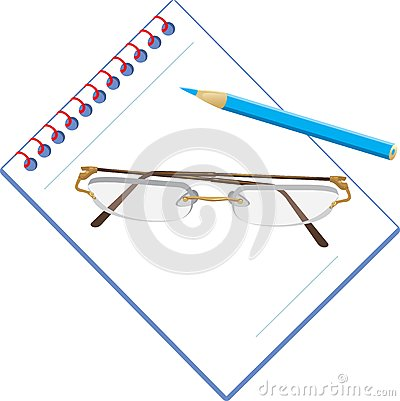Glasses and notepad with pencil