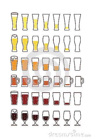 Free Glasses Of Beer With Bubbles: Empty, Half, Full. Vector Stock Photo - 80957970