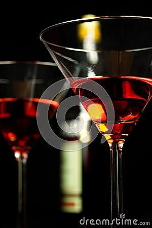 Free Glasses Of Campari Over Black Stock Photo - 5440190