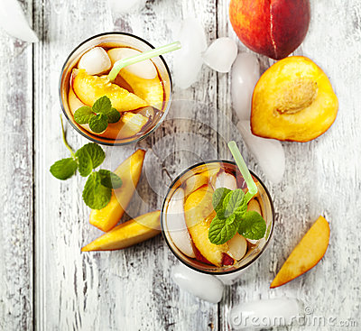 Free Glasses Of Peach Iced Tea. Royalty Free Stock Photography - 55297017