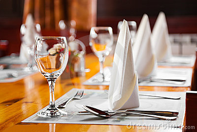 Glasses And Plates On Table In Restaurant Royalty Free Stock Photos - Image: 10756578