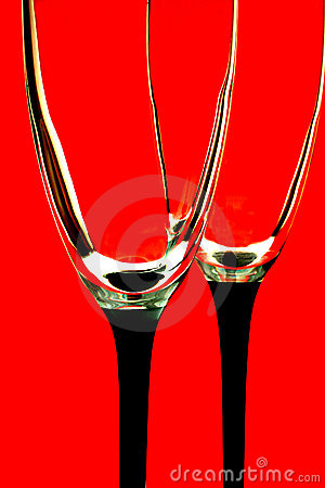 Glasses on Red Background