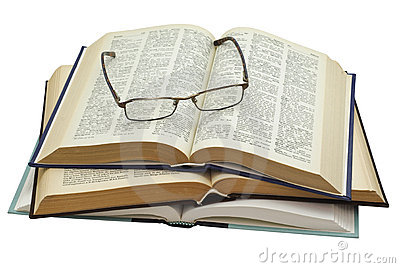 Glasses on three open books
