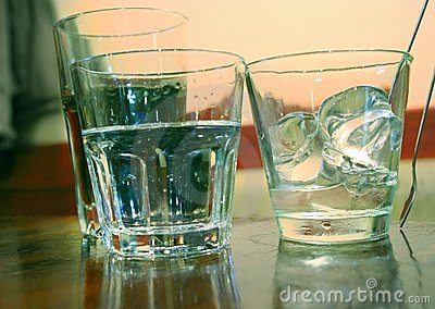 Glasses of water with ice