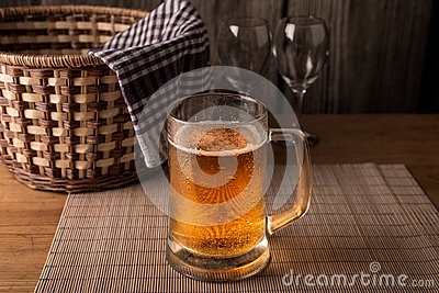Glasses of wine and a mug of beer