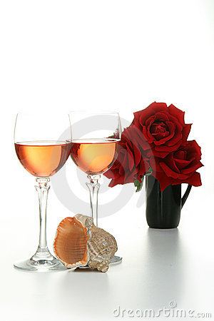 Glasses of wine with rose