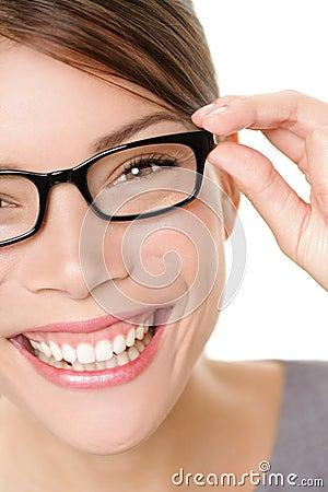 Glasses woman showing eyewear