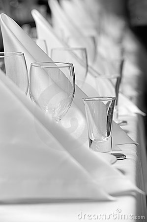 Glassware and napkins