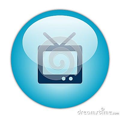 Glassy Blue Television Icon