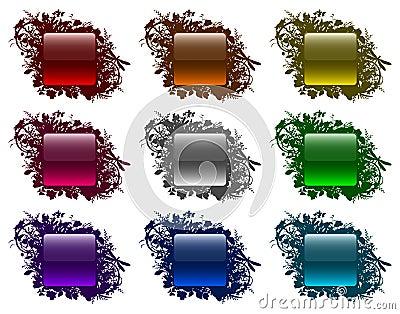 Glassy buttons in floral frames (set 3)