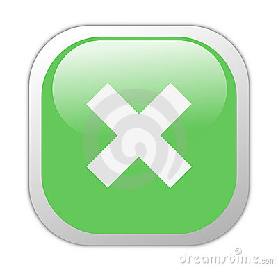 Glassy Green Square Cross Icon