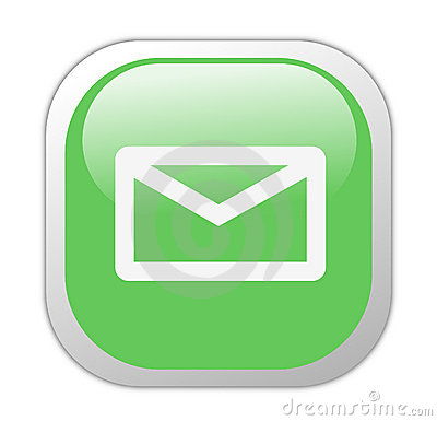 Glassy Green Square Email Icon
