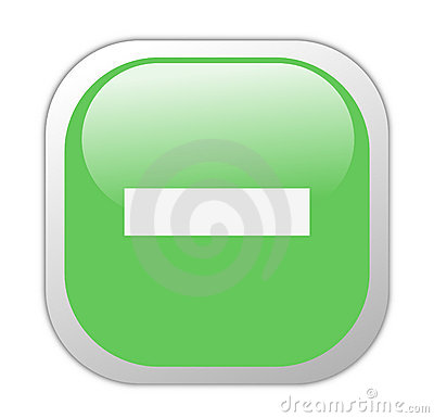 Glassy Green Square Minus Icon