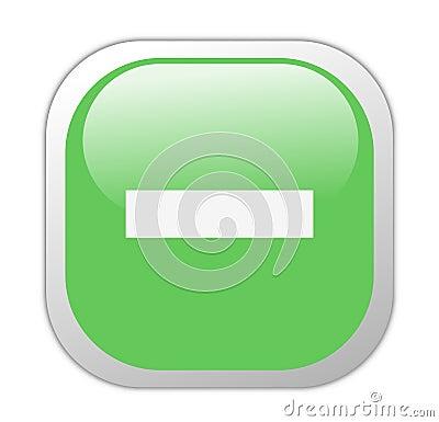 Glassy Green Square Minus Icon