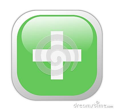 Glassy Green Square Plus Icon