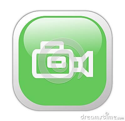 Glassy Green Square Video Camera Icon