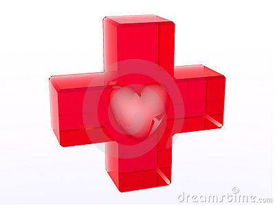 Glassy red cross with heart inside Editorial Image