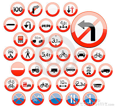 Glassy road sign icons