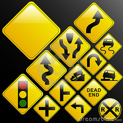 Glassy warning road signs