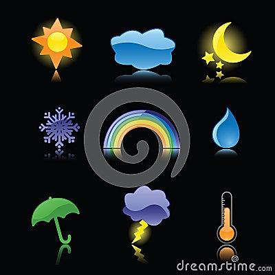 Glatte Wetter-Ikonen auf Schwarzem