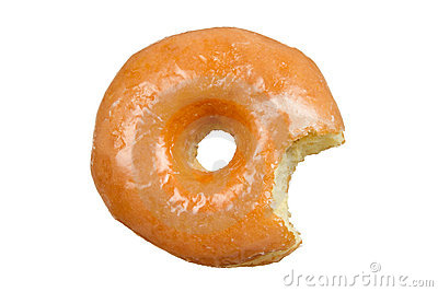 Glazed Donut with Bite Missing on White Background