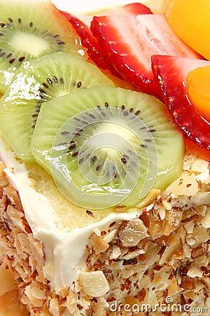 Glazed Fruit Topped Cake