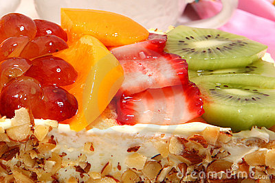 Glazed Fruit Topped Cake