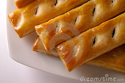 Glazed puff pastry in a dish
