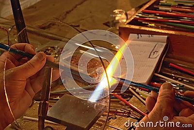 Glassmaker at work